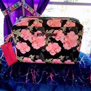 Betsey Johnson Double Zip Large Cosmetic Bag New